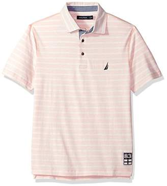 Nautica Men's Classic Fit Short Sleeve Reverse Stripe Print Polo Shirt