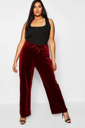 boohoo Plus Velvet Wide Leg Trousers