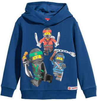 H&M Printed Hooded Sweatshirt - Blue