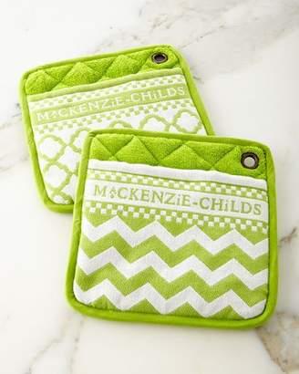 Mackenzie Childs MacKenzie-Childs Key Lime Pot Holders, Set of 2