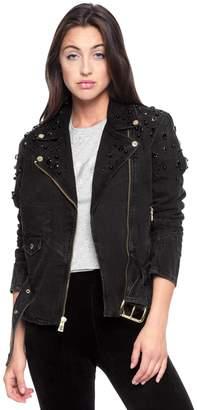 Juicy Couture Embellished Denim Biker Jacket
