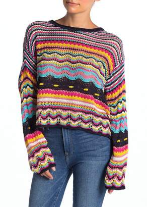 Woven Heart Long Sleeve Crochet Sweater