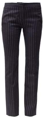 Alexander McQueen Tailored Pinstriped Wool Trousers - Womens - Navy Stripe
