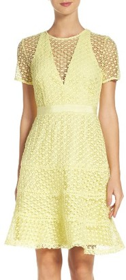 Women's Adelyn Rae Illusion Fit & Flare Dress $138 thestylecure.com