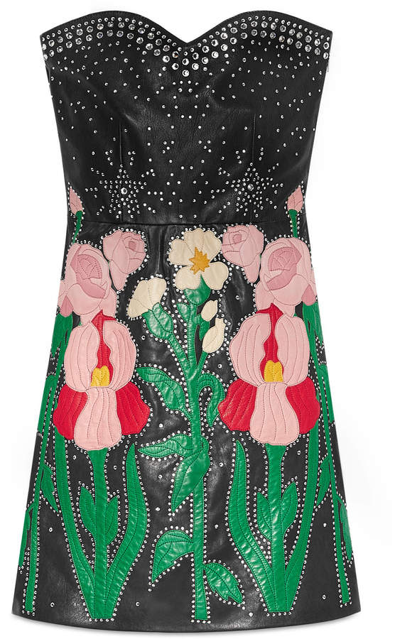 Leather flower intarsia strapless dress