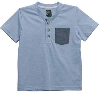 No Retreat Toddler Boys' Short Sleeve Henley T-Shirt with Contrast Pocket