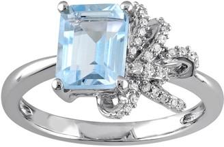 Laura Ashley Lifestyles Sterling Silver Sky Blue Topaz & 1/10 Carat T.W. Diamond Bow Ring