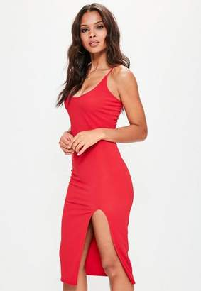 Missguided Red Strappy Scoop Neck Midi Dress