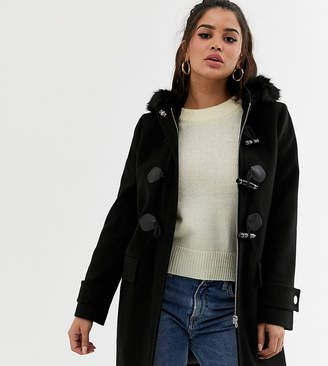 Asos DESIGN Petite duffle coat with faux fur trim in black