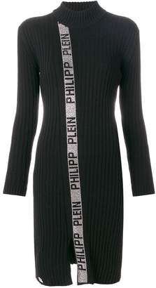 Philipp Plein funnel neck rib knit metallic trimmed dress