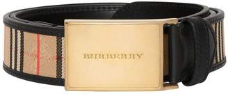 Burberry Plaque Buckle 1983 Check and Leather Belt