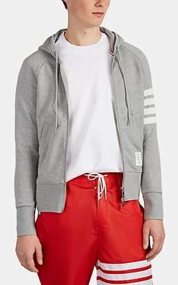 Thom Browne Men's Block-Striped Cotton Terry Zip-Front Hoodie - Light Gray