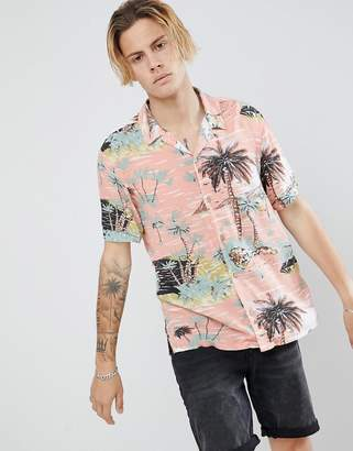 AllSaints short sleeve revere shirt in pink with hawaiian print
