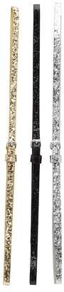 Linea Pelle Metallic & Glitter Skinny Belts - Set of 3