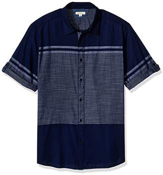 Calvin Klein Jeans Men's Short Sleeve Roll Tab Engineered Stripe Button Down Shirt