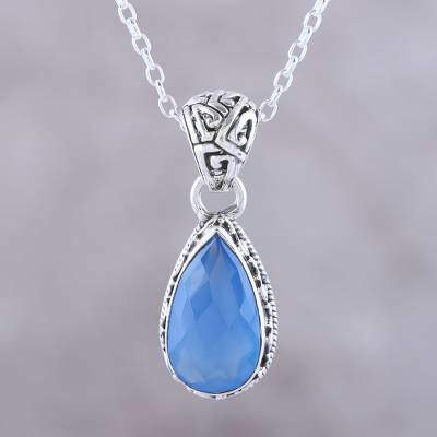 Blue Mist Teardrop Chalcedony Pendant Necklace in Blue from India