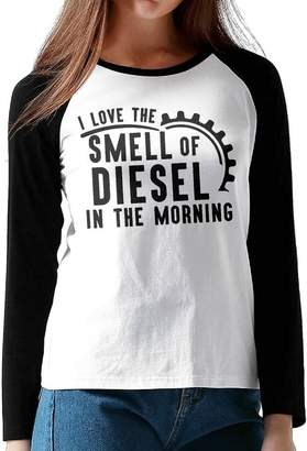 Diesel MGood-10 Women's I Love The Smell Of Tshirt,Long Sleeve Tee For Women