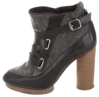 Loeffler Randall Leather & Felt Ankle Boots