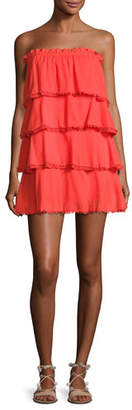 Red Carter Allaire Strapless Tiered Cotton Gauze Dress, Orange $180 thestylecure.com