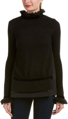 Moncler Frilled High-Neck Wool, Mohair, & Cashmere-Blend Sweater