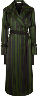 ADEAM - Striped Satin Trench Coat - Emerald