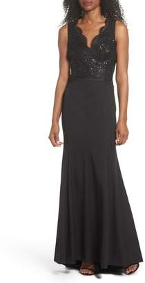 Vince Camuto Lace & Crepe Mermaid Gown