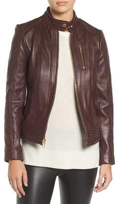 Women's Michael Michael Kors Band Collar Front Zip Leather Jacket $525 thestylecure.com