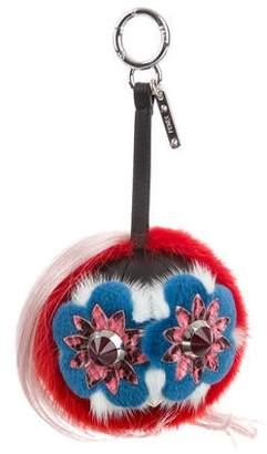 Fendi 2016 Blossy Mink Fur Bag Bug Charm