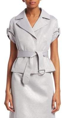 Akris Punto Metallic Roll-Sleeve Belted Jacket