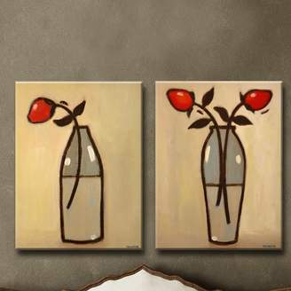 Red Barrel Studio Minimalist Rose I/II 2 Piece Painting Print Set on Wrapped Canvas