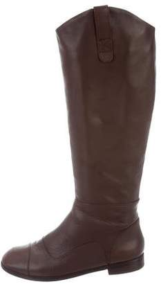 Rosegold Leather Knee-High Boots