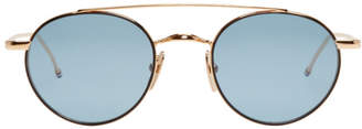 Thom Browne Gold and Blue TB-101 Round Sunglasses