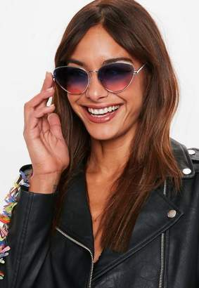 Missguided Purple Ombre Lens Cat Eye Sunglasses