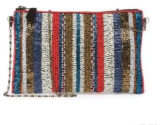 G Lish G-Lish Beaded Stripe Zip-Top Clutch