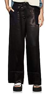 Sacai Women's Satin & Twill Wide-Leg Pants-Black