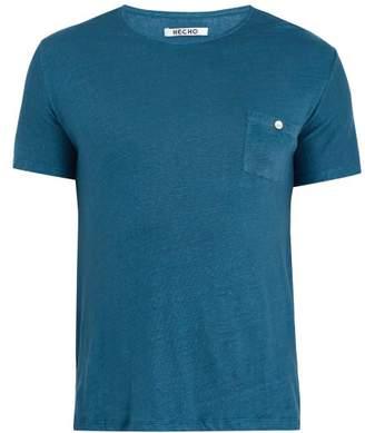 Hecho - Crew Neck Linen T Shirt - Mens - Blue