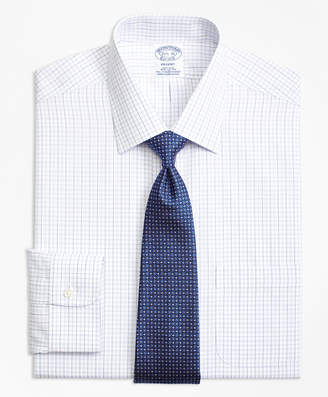 Brooks Brothers Regent Fitted Dress Shirt, Non-Iron Double Split Windowpane