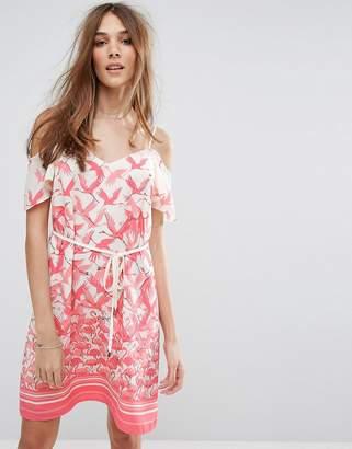 Oasis Flamingo Print Cold Shoulder Dress $72 thestylecure.com