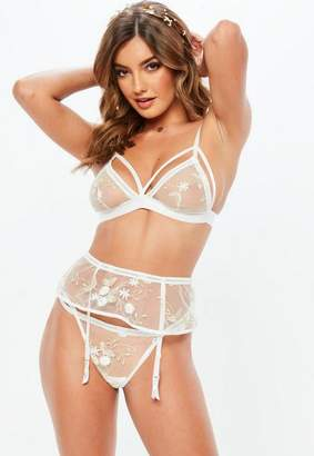 Missguided White Mesh Floral Embroidered Suspender Belt