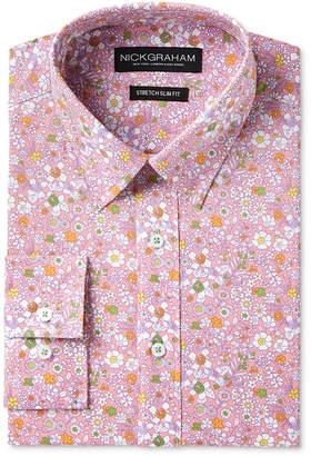 Nick Graham Men's Slim-Fit Stretch Easy-Care Floral Print Dress Shirt