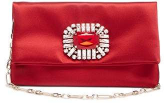Jimmy Choo Titania Crystal Embellished Satin Clutch - Womens - Red