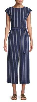 Karl Lagerfeld Paris Striped Cup-Sleeve Jumpsuit