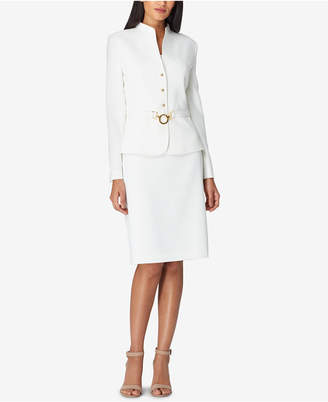 Tahari ASL Belted Collarless Skirt Suit, Regular & Petite