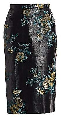 Dries Van Noten Women's Embroidered Faux-Leather Pencil Skirt