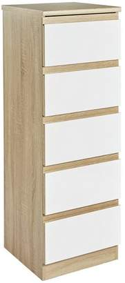 Avenue 5 Drawer Tallboy Chest - Oak Effect and White Gloss