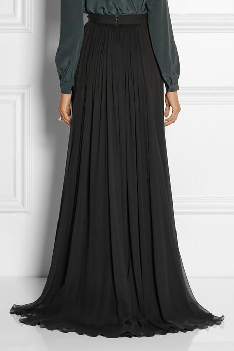 Elie Saab Pleated silk-chiffon maxi skirt