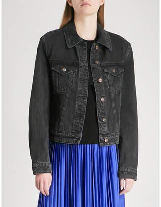 Mo&Co. Padded-shoulder denim jacket