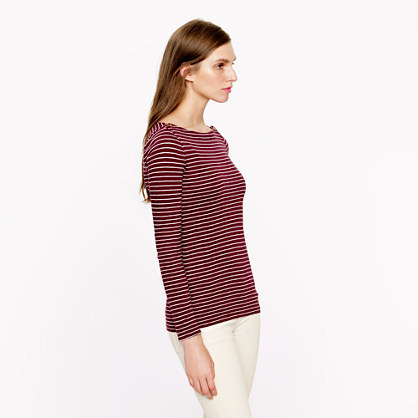 J.Crew Painter button boatneck tee in skinny stripe