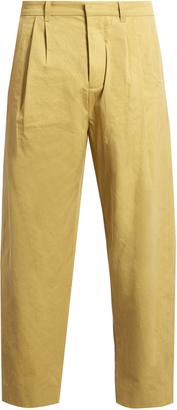 Pleat-front cotton straight-leg trousers