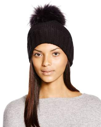 Inverni Foldover Knit Beanie with Asiatic Raccoon Fur Pom-Pom